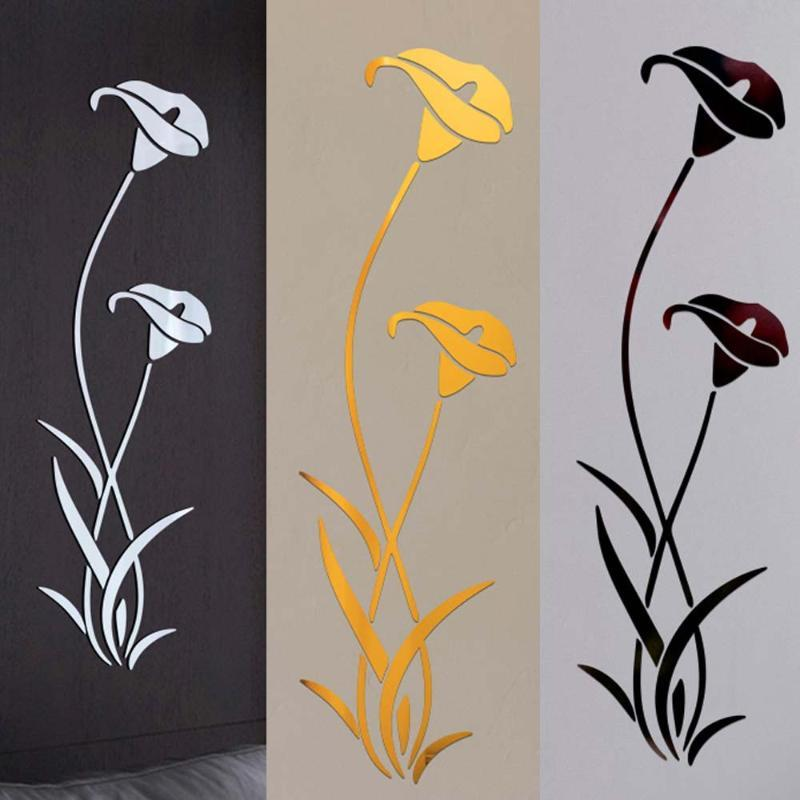 3d Diy Flower Shape Acrylic Wall Sticker Modern Stickers Decoration 3d Mirror Wall Stickers Home Mirror Flower