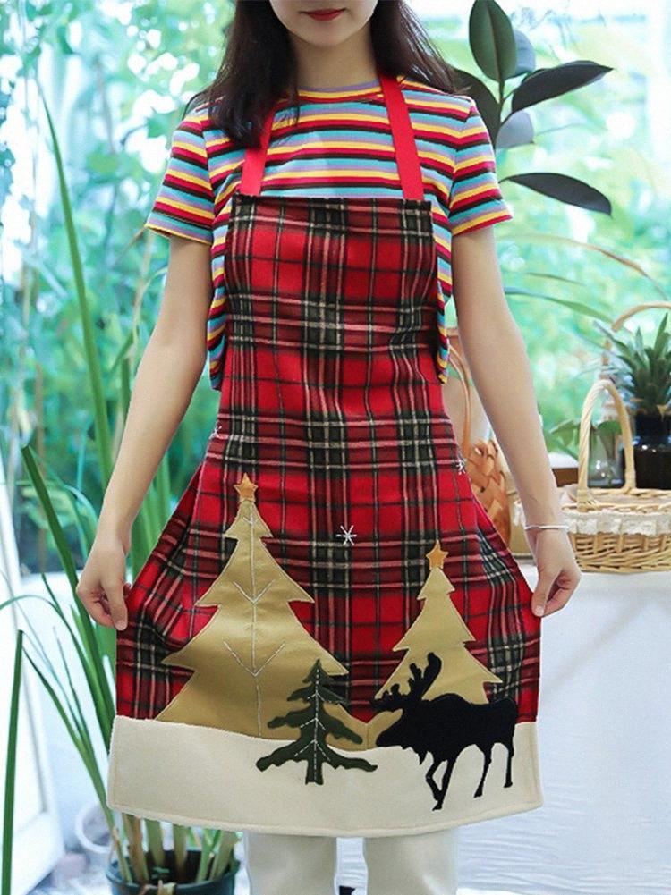 Küche Weihnachten Schürze Baum Deer Adult Schürze Backen Kochzubehör Schürzen Weihnachtsdekoration Elk WyiJ # Drucken