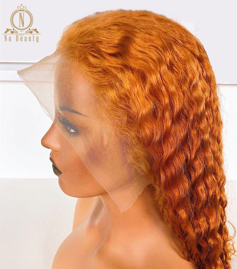شقراء برتقالي الشعر الإنسان الباروكات موجة عميقة الملونة الدانتيل كامل شعر مستعار الزنجبيل شقراء 360 الدانتيل الجبهة الباروكة للنساء السود
