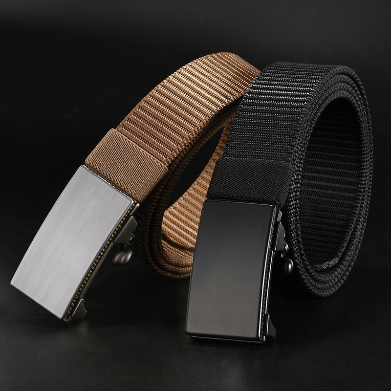 Venda Hot Men cinto de alta qualidade Buckle automática lona de nylon Belt OutdoorTravel Tactical cintura Unisex Adicionar longas correias de presente