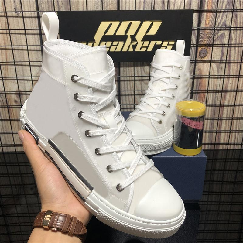 En Kaliteli Erkek Bayan B 23 Retro Obliques Beyaz Teknik Örgü Patchwork Erkekler Kadınlar Açık Luxurys Tasarımcılar Tuval Platformu Rahat Ayakkabılar