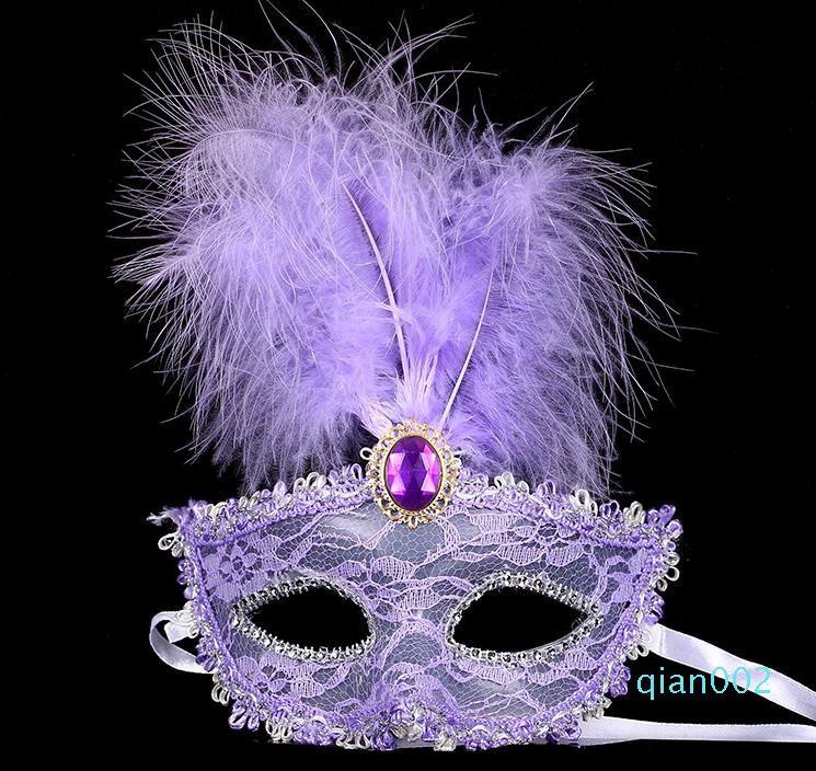 Hallowmas 100PC Женщины Кружева Sexy Венецианские глаз Masquerade маски Halloween с пером День рождения Пасха принцессы Dance Party Mask