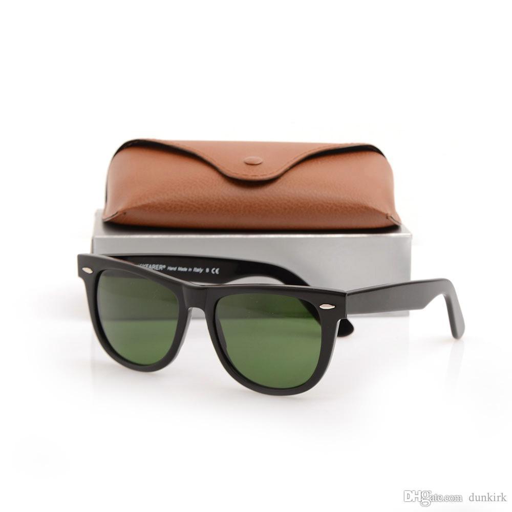 Yüksek Kaliteli Erkek Güneş Gözlüğü Wayfarers Bayan Kahverengi Güneş Gözlükleri Tahta Menteşe Güneş Gözlüğü Metal Gözlük Kılıfları Siyah Çerçeve Ile PHKTX