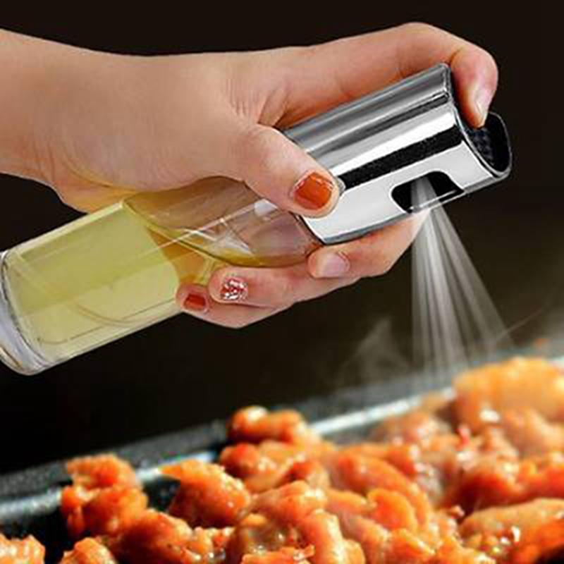 Cooking Oil Sprayer Push Button Chuck Condiment Olive Oil Pump Stainless Steel Baking Oil Dispenser Kitchen Tool IIA719