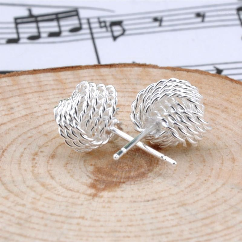 Stud Fashion Women's Weave Mesh Ball Studs Earrings Alloy Solid Silver Plated Jewelry Accessories1