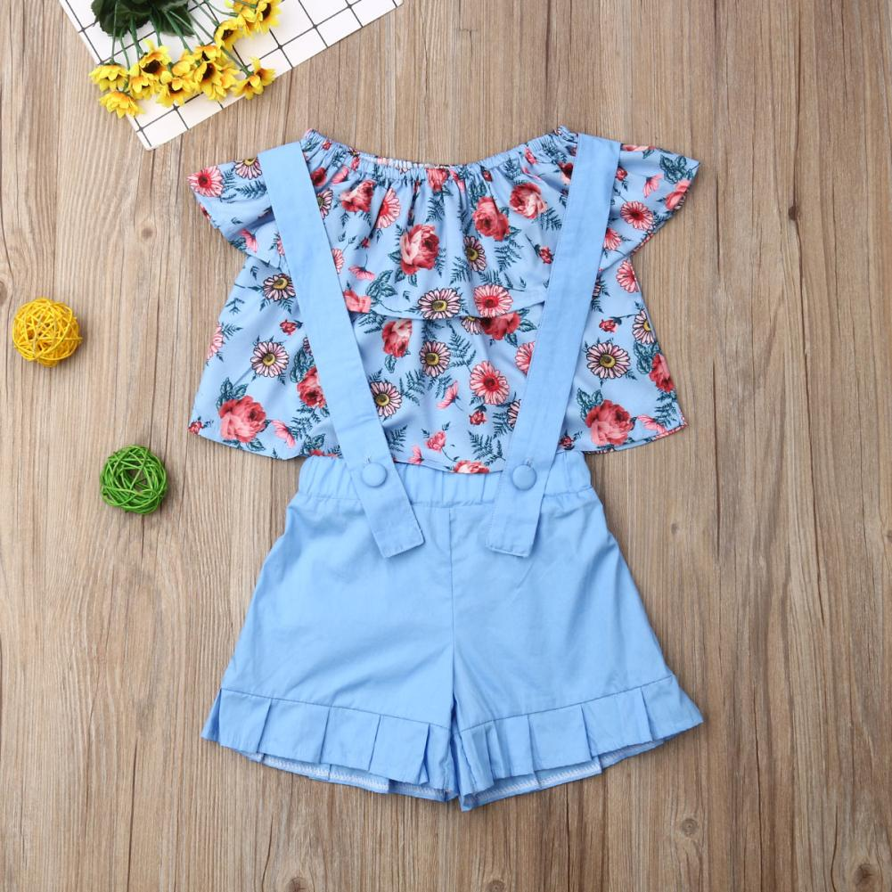 2PCS Toddler Baby Girl 1-6Y Clothes Sets Flower Off-Shoulder Tops+Bib Shorts Outfit Casual Clothes