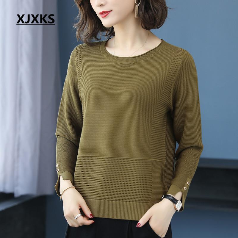 Женские свитера Xjxks 2021 осень с длинным рукавом круглые шеи женщины свитер высокого качества смешанный вязаный пуловер