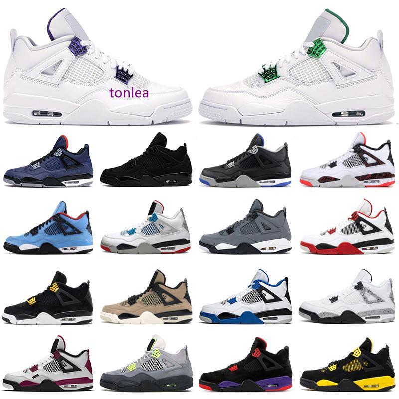 Baloncesto para hombre zapatos 4s 4 jumpman puro dinero del gato Negro Bred púrpura metálica Burdeos Cool Gray trueno leales hombres azules zapatillas deportivas