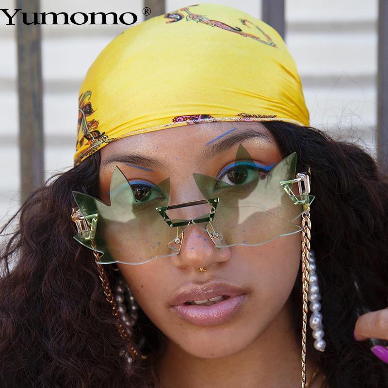 2020 nuevo del punk sin montura gafas de sol gafas de sol de moda Gradiente marca de diseño retro de los vidrios en forma de hoja gafas de Steampunk
