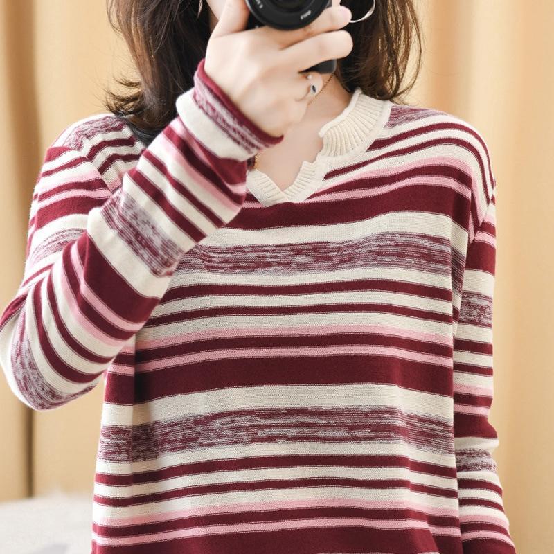 allentato coreano sottile vestito da autunno manica lunga 2020 nuovo b cotone superiore linenCoat cotone e linenstripe moda Q9Do9 con la parte superiore lavorata a maglia delle donne e