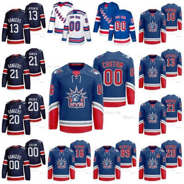 Personalizzati NY Rangers 2021 Reverse Retro Alexis Lafreniere Jersey Kaapo Kakk Jacob Trouba Panarin Zibanejad Chris Kreider Skjei Uomo Donna Bambini