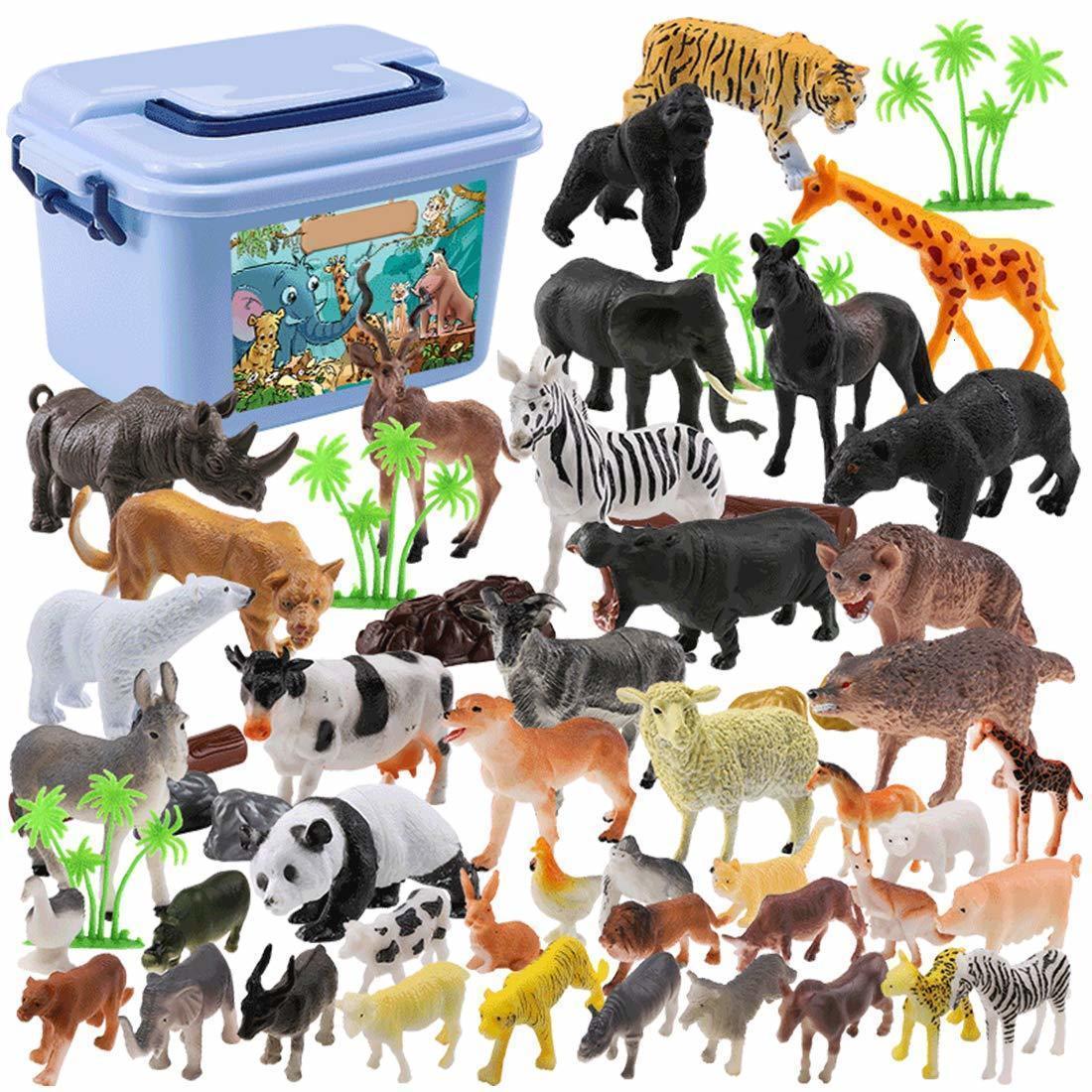 / Set mini selva animais brinquedos definir figuras de animais, zoológico do mundo, brinquedo da floresta para crianças com caixa forte LJ200922