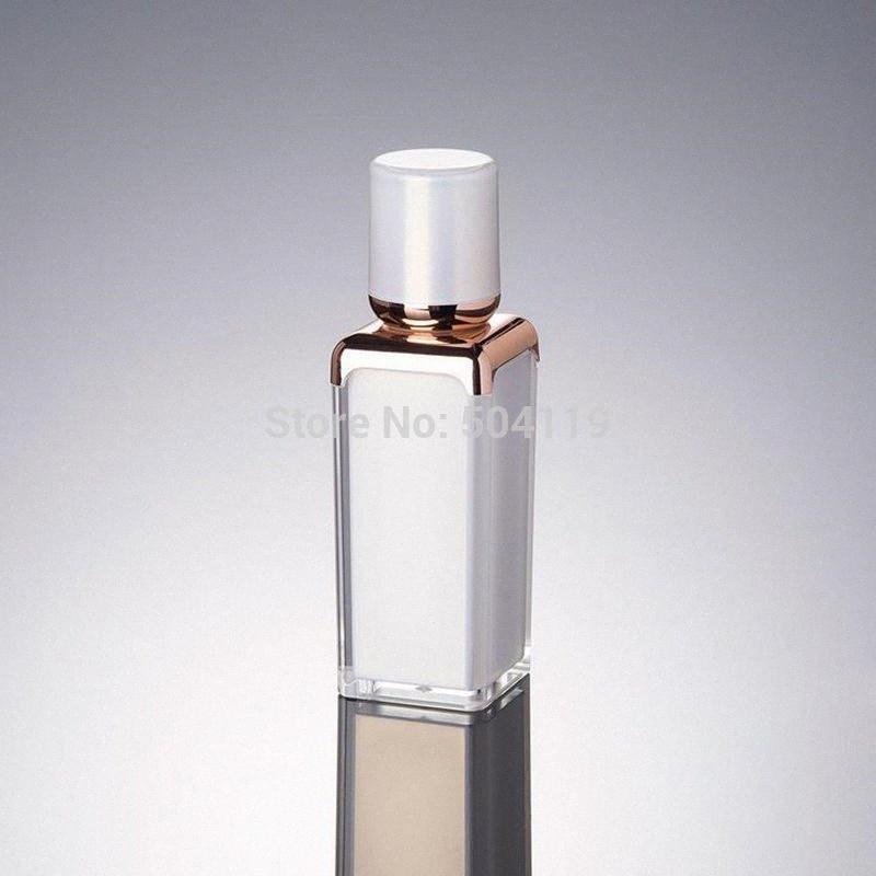 30ml perle blanc / or de forme carrée flacon airless acrylique pour le sérum / lotion / émulsion / fondation / emballage de cosmétique liquide 6DAM #