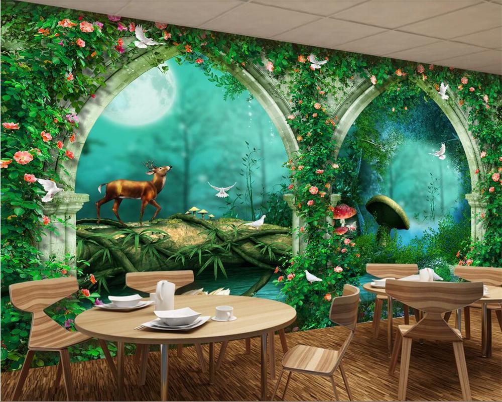 Beibehang papel de parede personalizado belos arcos fantasia Fairy Recados sofá TV fundo da floresta conto de estar quarto quarto 3d