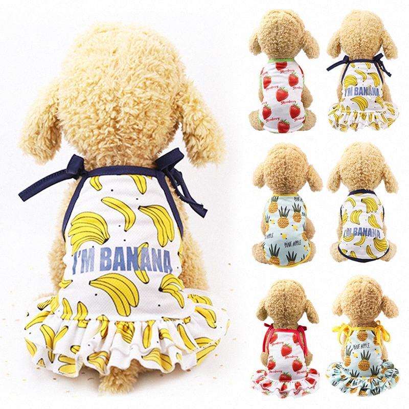 Cachorros amantes de primavera y verano ropa de vestir chaleco de malla transpirable para mascotas Gatos dos ropas pies frescos fresa linda camiseta 4eJP #