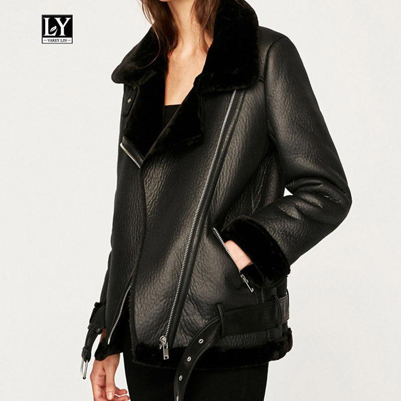 Ly Varey Lin New hiver de femme imitation peau de mouton Manteaux Thicken Faux cuir Agneaux laine fourrure Veste noire moto Femme Outwear 201015