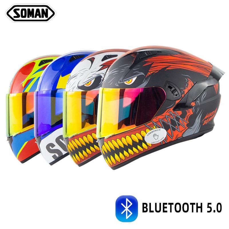 2021 Punkt Neue Ankunft Mode Smart Integrierte Bluetooth 5.0 Motorrad Helme Full Face Casco Doppellinse Flip Up Intercom Helm Headset