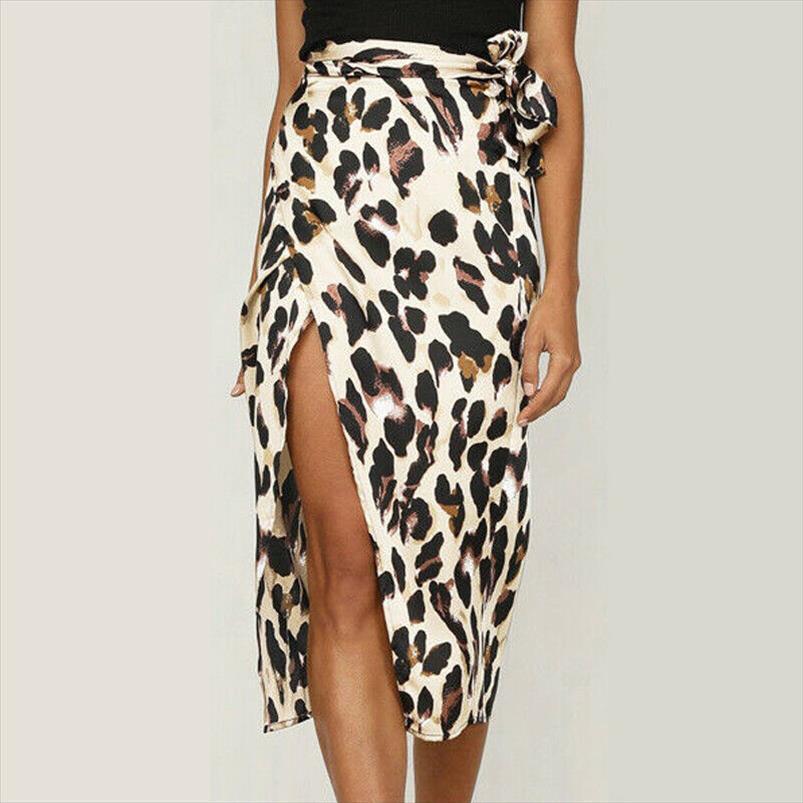 Mulheres Midi wrap saia de cintura alta Sexy Leopard Bodycon Pencil Skirt elegante longo festa de verão 2020 da atadura Roupa das senhoras do vintage