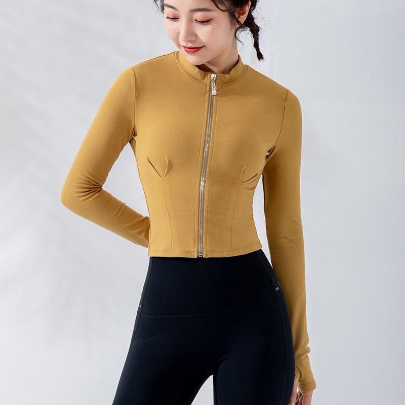 Осень Женские куртки Фитнес Спорт Куртка для девочек Тонкий Zipper Открытый Женской Запуск Quick Dry Обучение Одежда Yoga Top