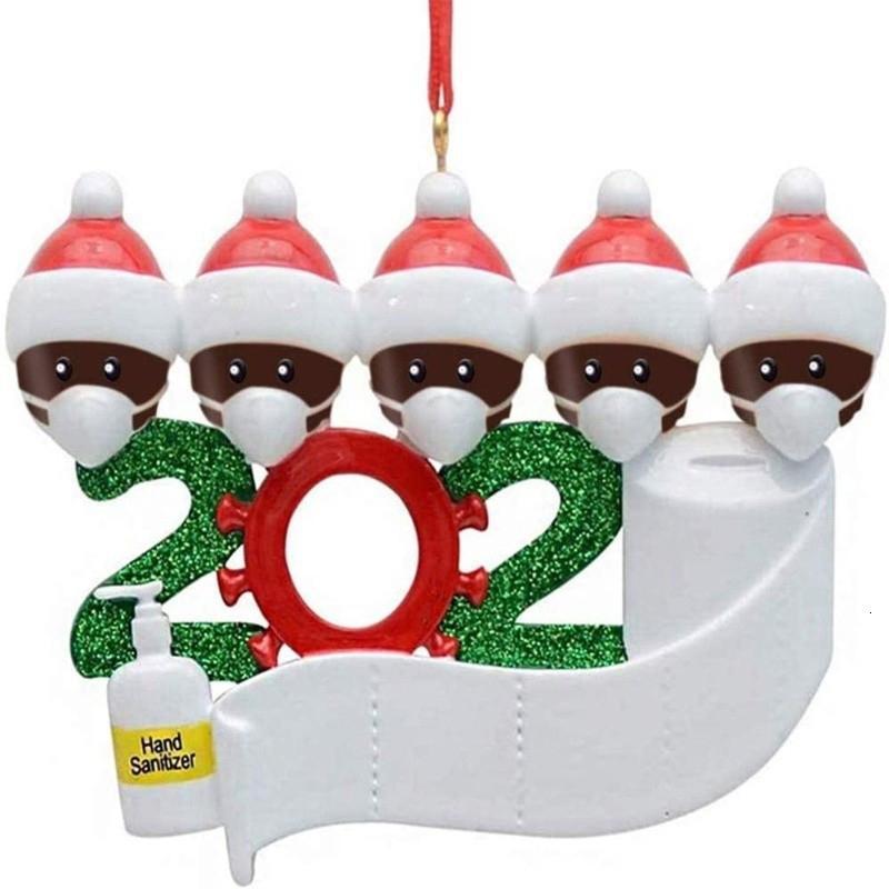 Adornos de Navidad Saludos de cuarentena de bricolaje partido de Navidad de la familia pandemia Distanciamiento social Árbol de Navidad colgante Accesorios EWA1445