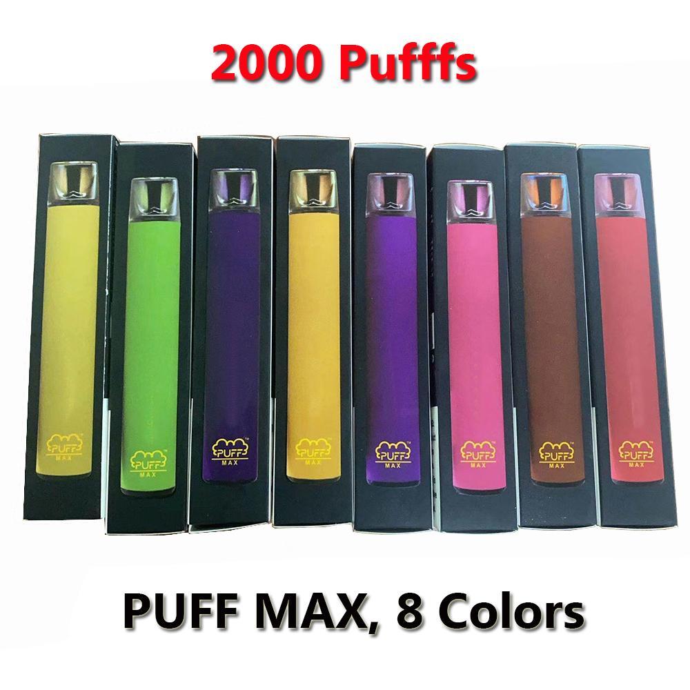 Puff Max 2000 Sbuffi monouso Vape sigaretta elettronica 8 colori con piano trasparente Driptip popolare vaporizzatore
