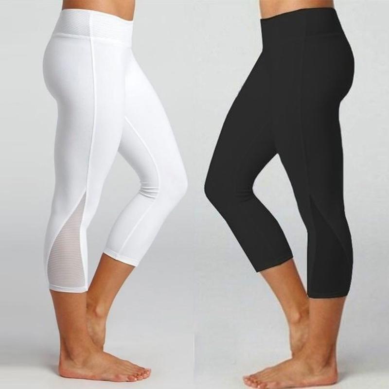 Summer Women Cropped Yoga Pant Elastic Sport Leggings Skinny Capris Running Trousers Female Crop Fitness Dance Tights #373
