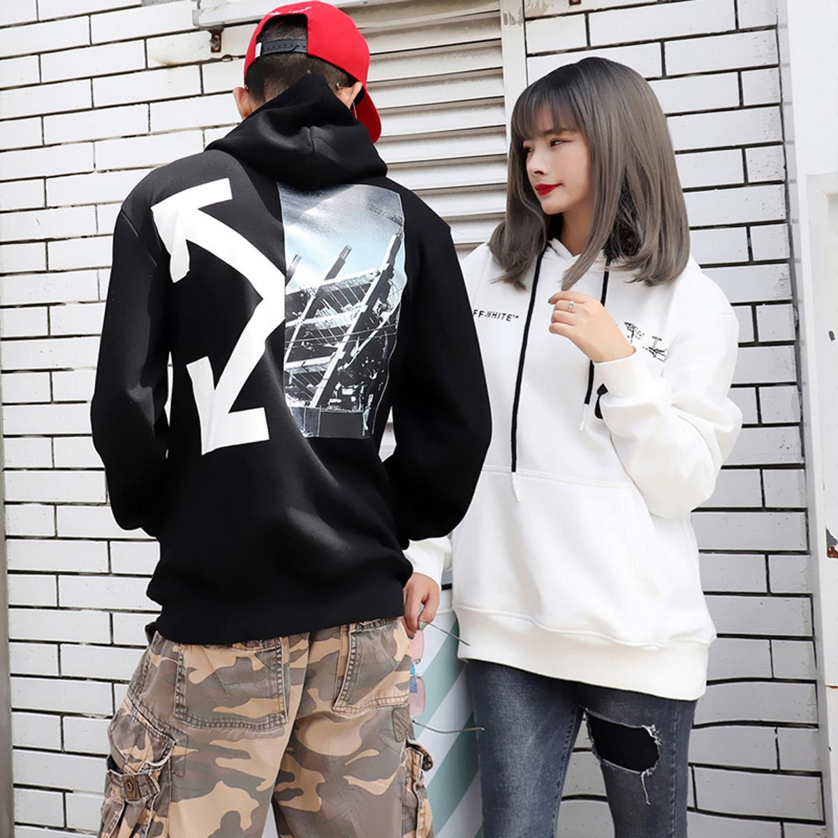 Moda camisola casaco solto homens hoodie lã impressão de algodão puro casal