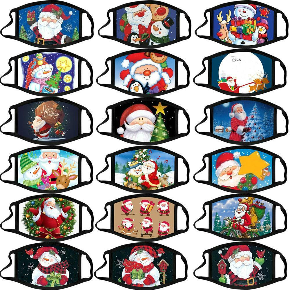 Christmas adult calico mask anti-fog washable cotton masks color Christmas mask cartoon face mask Party Masks fashion design facemasks