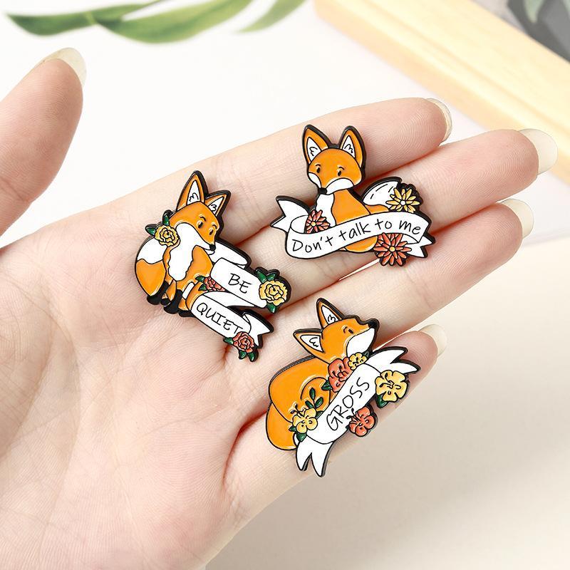 Cartoon Yellow Fox Enamel Pins Fashion Cute Brooches Animal Flower Ribbon Badges Costume Decoration Metal Jewelry Lapel Denim Pin Gifts