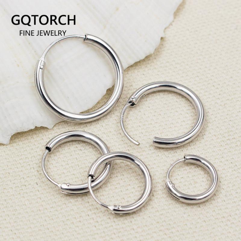 Pendientes de plata 925 Silver Circle Declaración de aro geométrico para hombres y mujeres personalizada Hip Punk Jewelry1