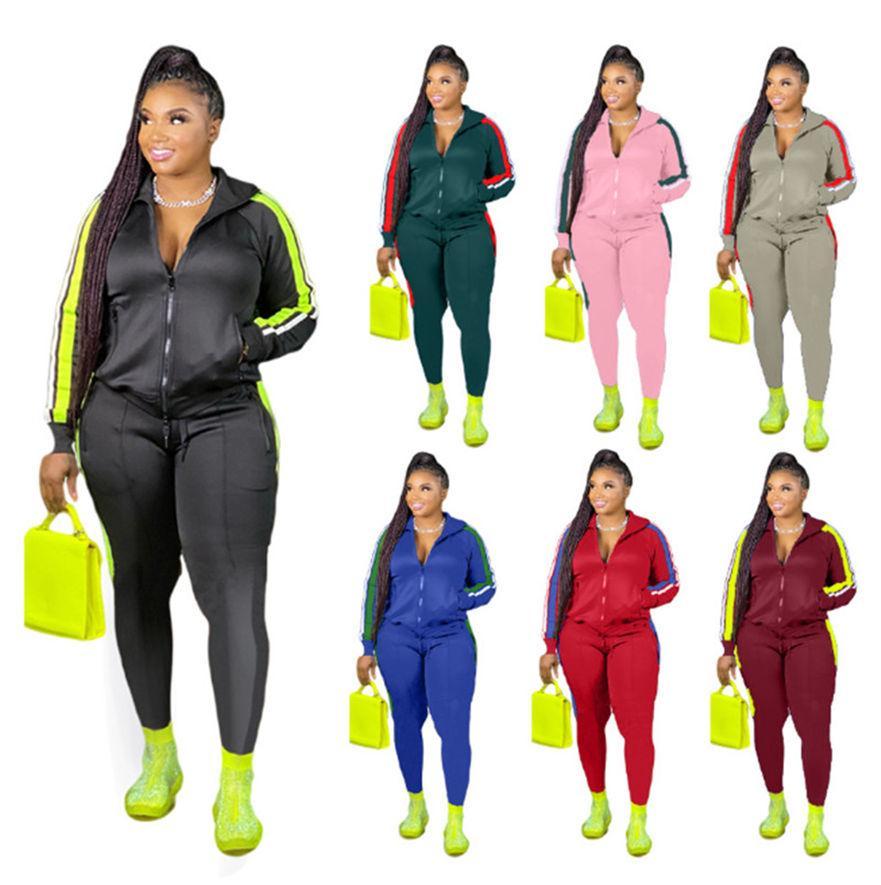 Plus Size 3x 4x Donne Tracksuits 2 pezzi set a righe Abiti a righe Sweatsuit Sweat Suit Giacca Giacca Pantaloni Sport Set Sport Plain Jogger Vestito 3826
