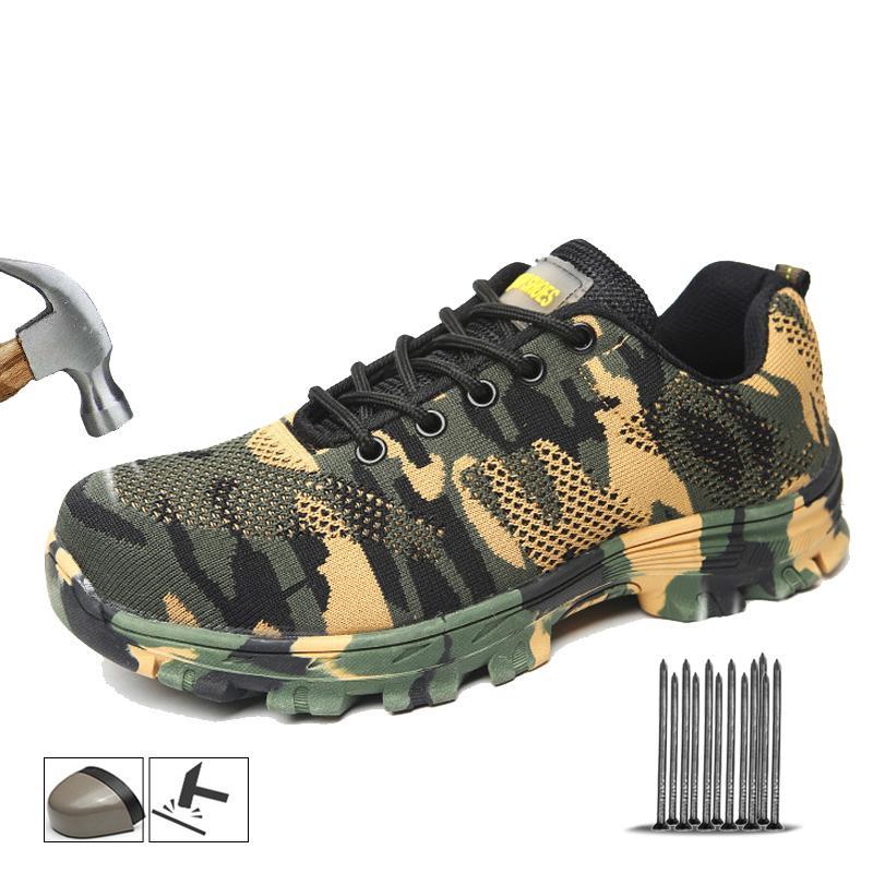 Aço Outdoor Toe de Yadibeiba Botas Homens Construção Cap Segurança Sapatas camuflar respirável exterior Sneakers Calçado de trabalho 201019