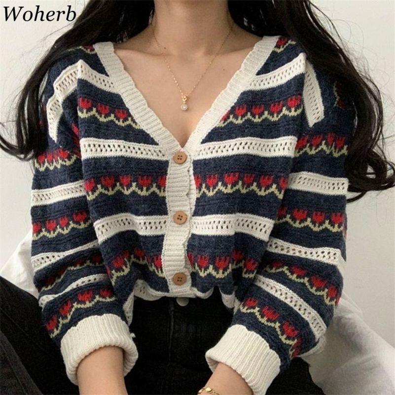 WOHERB Kore Vintage Çiçek Baskı Hırka Kadınlar Seksi V Yaka Örgü Kazak Coat 2020 Sonbahar Modu Çekin Sevimli Kazak Y200910