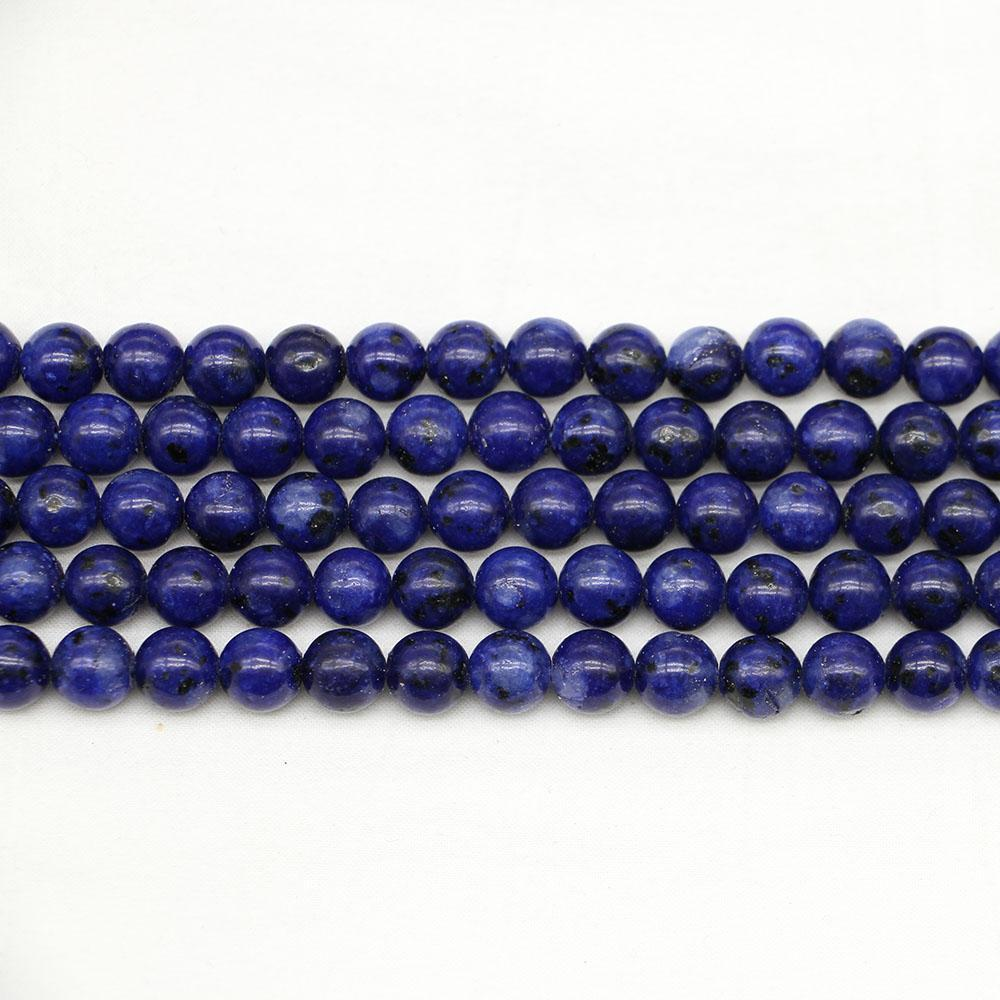 1trand lot 4 6 8 10 12 mm pierre naturelle lapis lapis lazuli perles perles d'entretoise lâche perle d'espacement pour bijoux Faire des conclusions bracelet bracelet collier h wmtulo