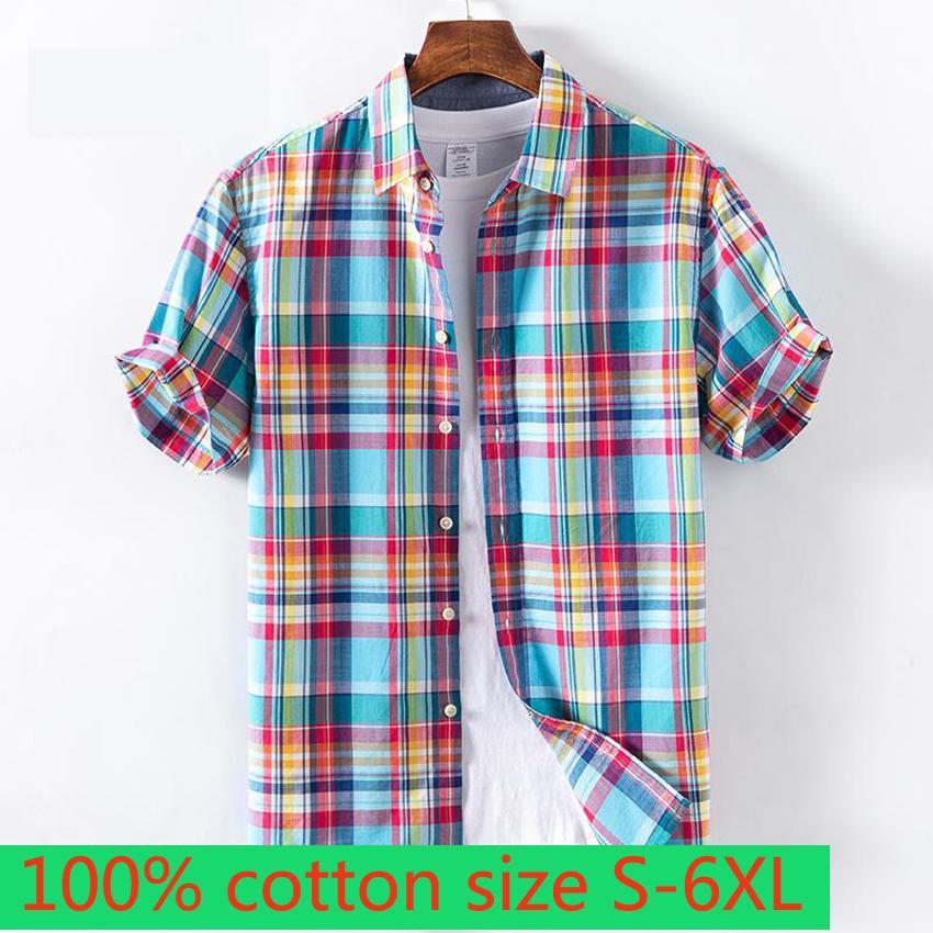 Yeni Büyük Moda Kısa Kollu İlkbahar Yaz Erkekler 100% Pamuk Yakışıklı Ekose Gevşek Casual Gömlek Artı Boyutu S M LXL2XL3XL4XL5XL6XL X1218
