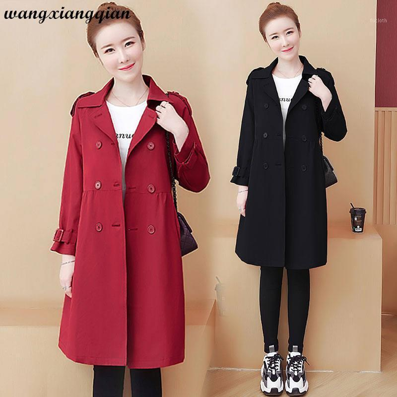 New Fashion Women's Spring Large Size Windbreaker Loose Thin Solid Color Mid-length Single-breasted Long Sleeve Trench Coat A6411