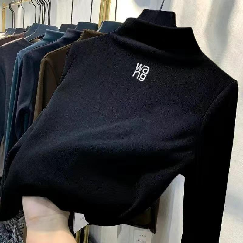 2020 Осенняя вышивка водолазка Корейская версия с буквами Тонкий нижний лиф де бархата теплые дамы Hoodie