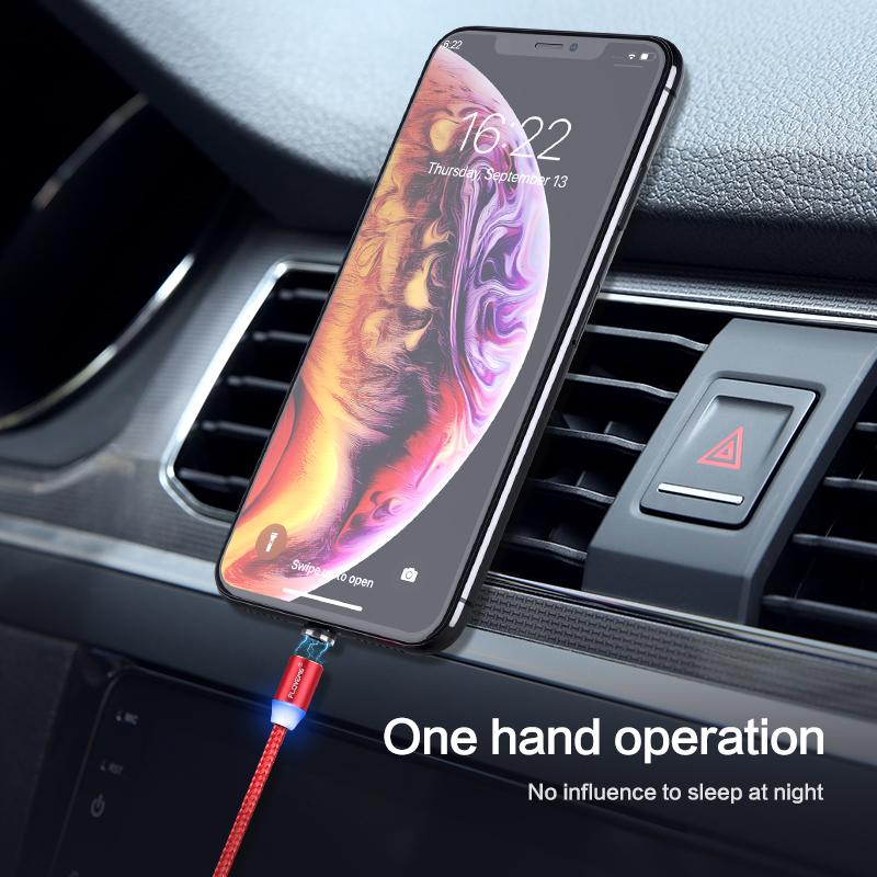 FLOVEME 1M Magnetic Charge Cable Micro USB Cable For iPhone 11 Pro Max XR Magnet Charger USB Type C Cable LED Charging Wire