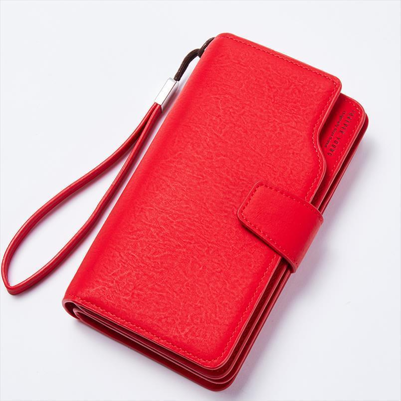 Hot Sale Female Female Coin Zipper Wallet Clutch Wallet Red 3Fold Women PU Wallets Purse Strap Money IPhone Purse Leather For Bag Edfro