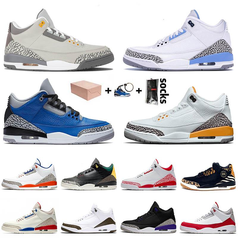 Basketball JUMPMAN 2021 New Arrival 3 3s Sport Men Cool Grey UNC Blue Cement Laser Orange Fire Women Court Purple SIZE 13 Trainers