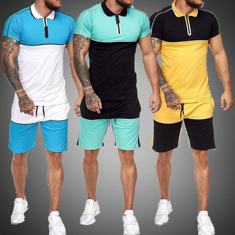 Homens Sweat Suit Set Verão Vestuário Men 2 Piece Set camisa de manga curta e Shorts Masculino Define Sports Wear roupas de ginástica Treino
