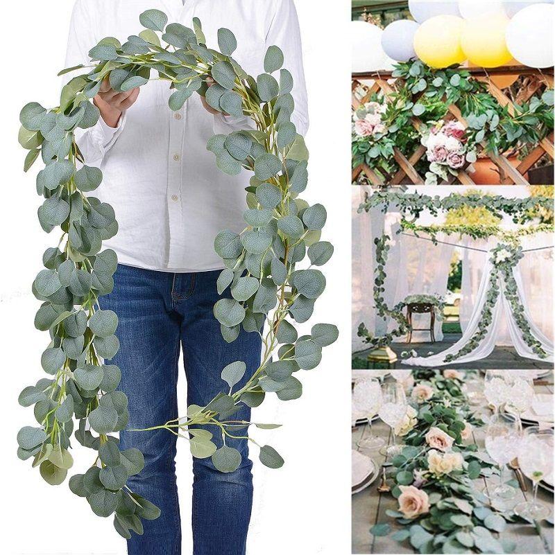 Hoja densa artificial eucalipto guirnalda hojas decorativas flores hechas a mano seda flor viñas vegetal fiesta boda fondo arco decoración de pared