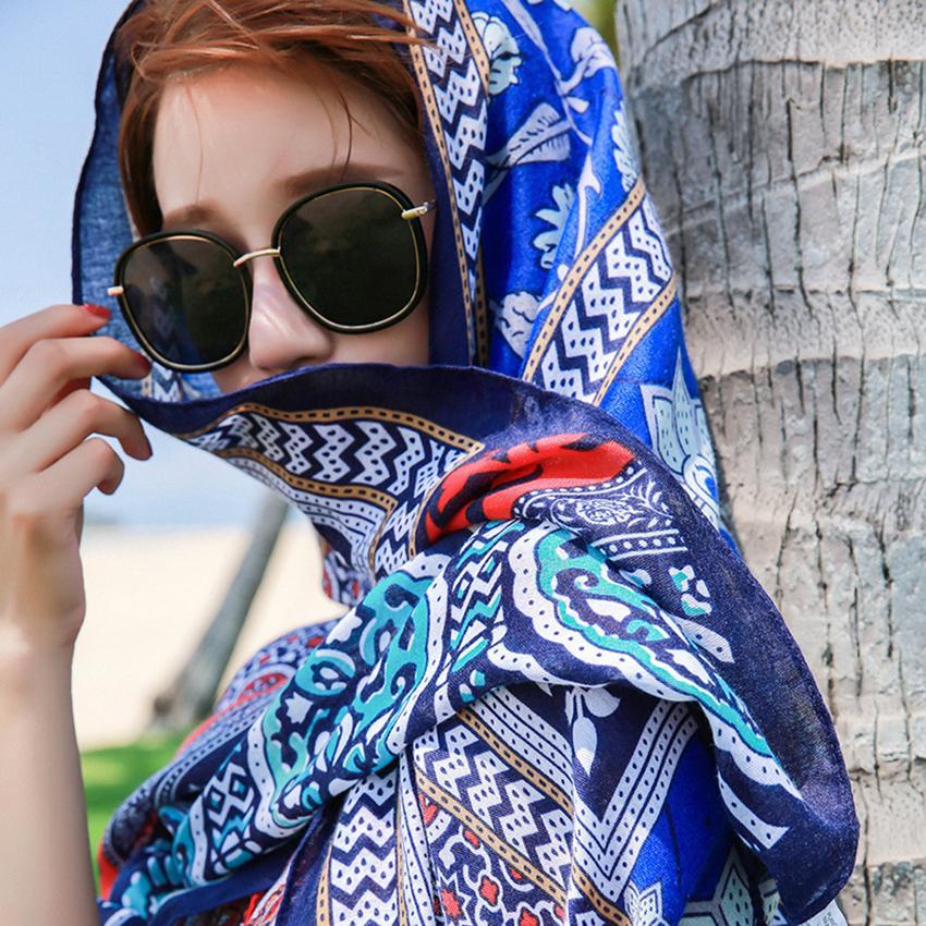 36style Ethnic Scarf Women Shawl Cotton Linen Ethnic Towel Seaside Holiday Sunscreen Silk Scarf Bohemian Beach Towel 180*100cm GGA3758-6