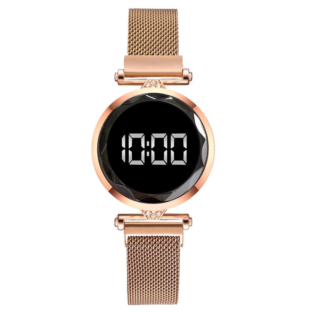 Mulheres magnética pulseira relógios Rose Gold Digital Vestido Assista LED Quartz Relógio de pulso das senhoras Relógio relogio feminino presente