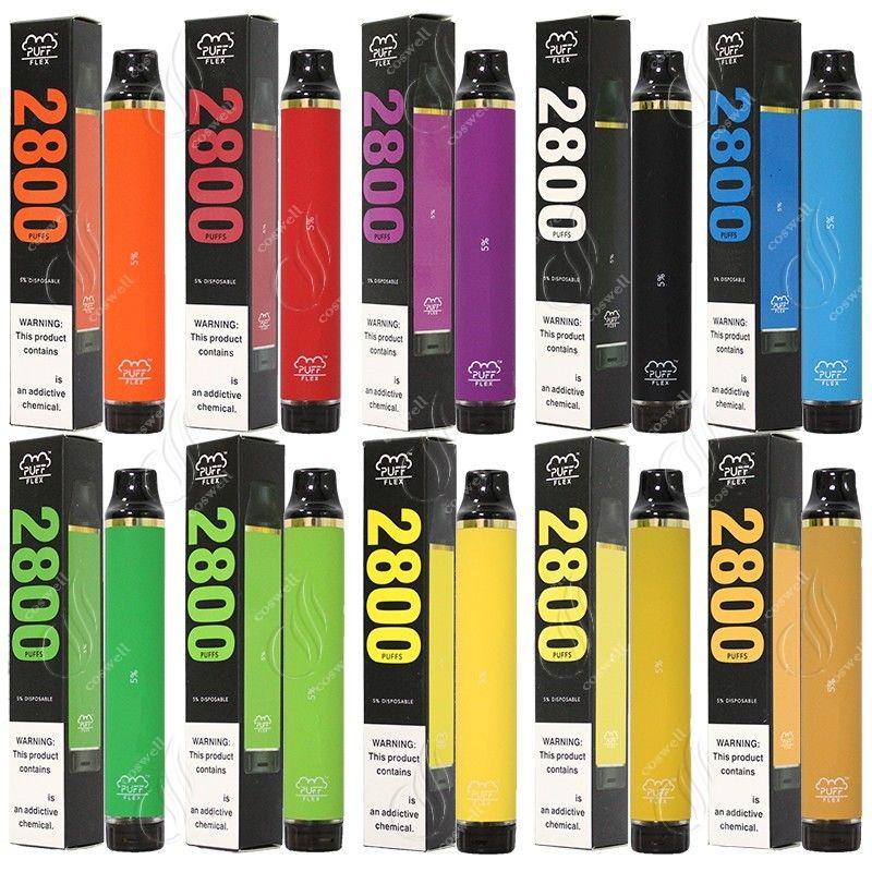 Neueste Puff Flex 2800 Puffs Einweg Bars Vape Pen 1500mAh Batterie 10ml Pods Patrone Vorgefüllt E Cigs Dambackgeräte Tragbare Dampflasterung
