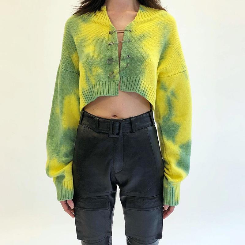 Cadre de sécurité trico-colorant Sweater Jaune Green Tie Cracinée Cardigan Cardigan pour Femmes E-Girl Chute Hiver Tenues /