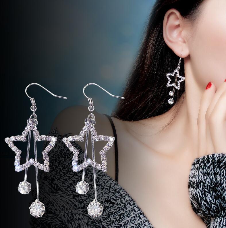 Moda Brincos Bijoux Kristal Rhinestone Star'ın küpe Hollow Pentagram Uzun Bildirimi Bırak Küpe Kadınlar Takı Altın Gümüş Renkleri