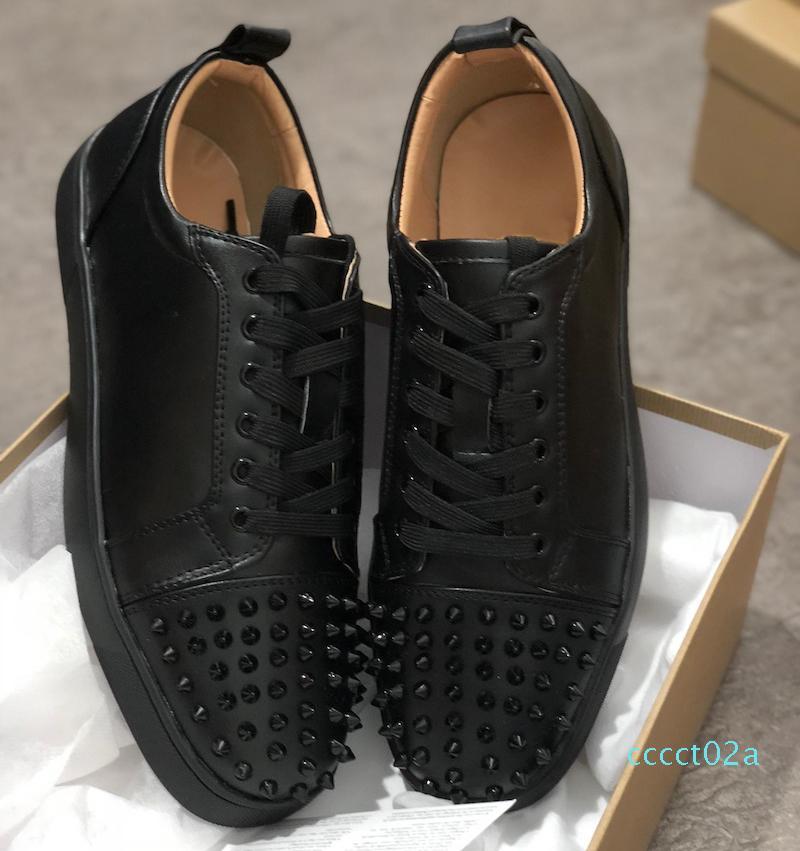Los zapatos del diseñador qwBest Roja menor inferior tachonado clava las zapatillas de deporte para hombre de los formadores de cuero real de los zapatos del partido de EE.UU. 5-12,5 CT02