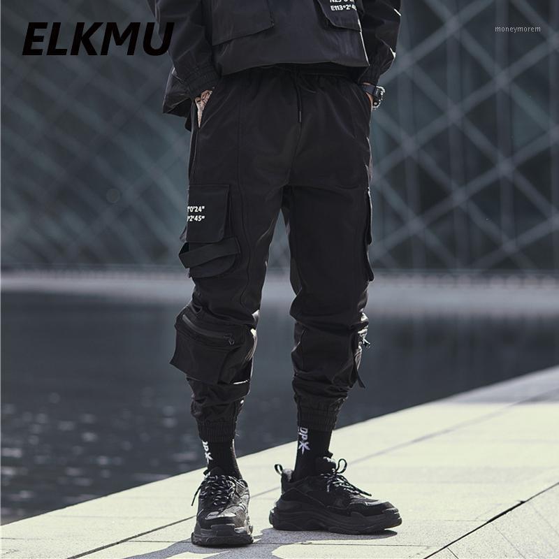Мужские штаны Elkmu Streetwear Black Cargo Joggers Men Fashion Hip Hop Harajuku Тактические карманы Hiphop Длина лодыжки He1771