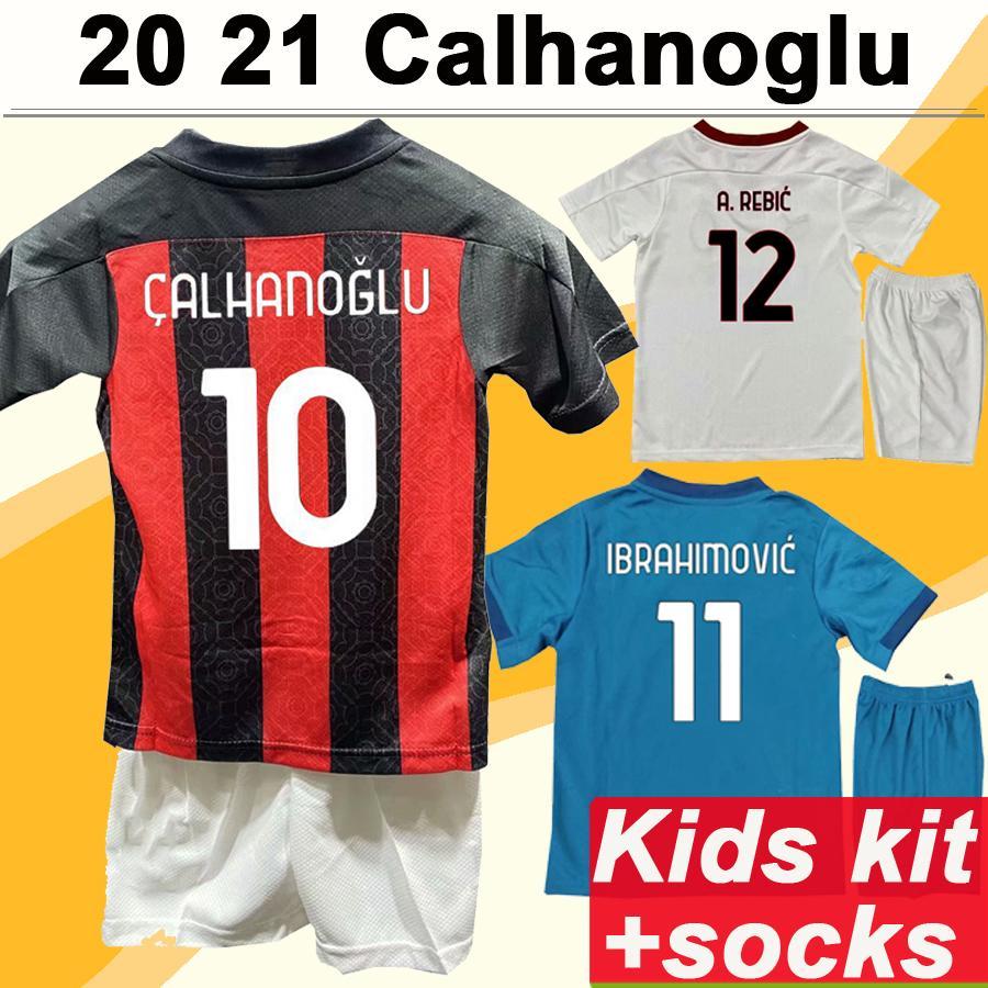 20 21 CALHANOGLU IBRAHIMOVIC Kids Kit Soccer Jerseys THEO KESSIE A. REBIC Home Away Football Shirt New ROMAGNOLI Short Sleeve Child Uniforms